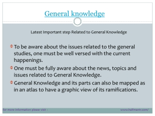 Latest steps for General Knowdlege
