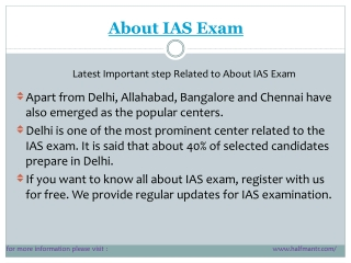 Latest points About IAS Exam