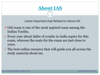 Latest steps About IAS