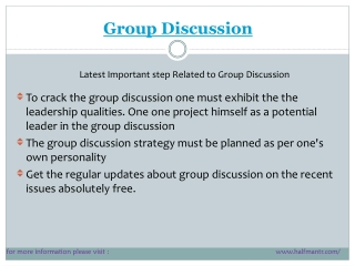 Latest points for Group Discussion