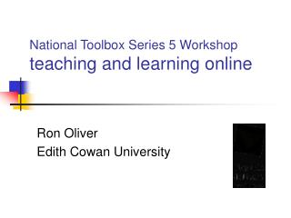 National Toolbox Series 5 Workshop teaching and learning online