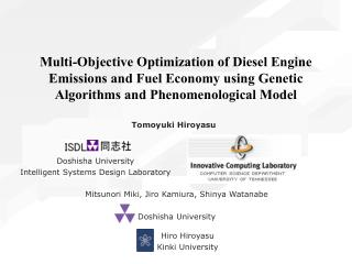 Multi-Objective Optimization of Diesel Engine Emissions and Fuel Economy using Genetic Algorithms and Phenomenological M