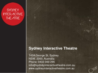 Sydney Interactive Theatre - The Productions
