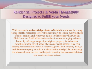 Residential Projects in Noida Thoughtfully Designed to Fulfi