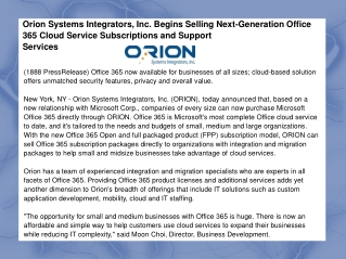 Orion Systems Integrators, Inc. Begins Selling