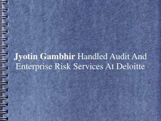Jyotin Gambhir Handled Audit And Enterprise Risk Services At