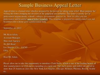 Sample Business Appeal Letter