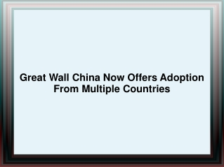 Great Wall China Adoption - A Non-Profit Adoption Agency
