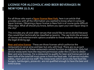 License for Alcoholic and Beer Beverages in New York (U.S.A)