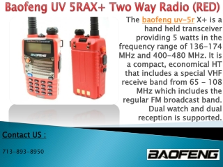 Baofeng UV 5RAX  Two Way Radio (RED)