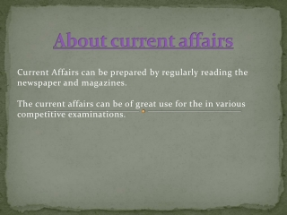 About current affairs