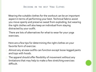 Tips on deciding on the best Yoga Clothes