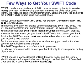 Few Ways to Get Your SWIFT Code
