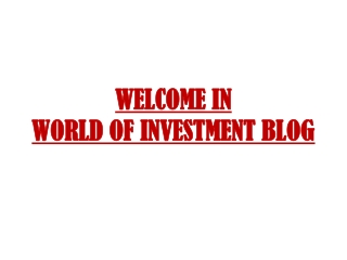 Why We Want Investment