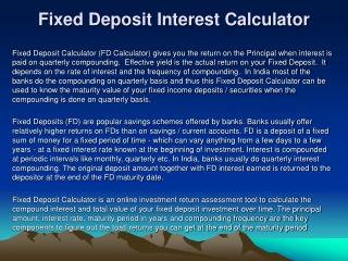 Fixed Deposit Interest Calculator