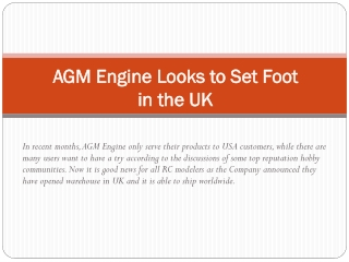 AGM Engine Looks to Set Foot in the UK