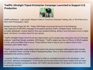 TrailPix Ultralight Tripod Kickstarter Campaign Launched to