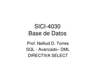 SICI-4030 Base de Datos