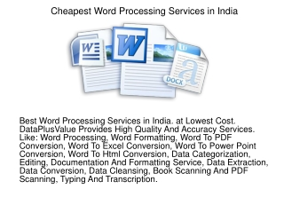 Cheapest Word Processing Services in India