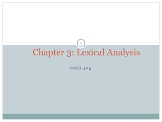 Chapter 3: Lexical Analysis