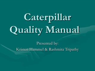 Caterpillar Quality Manual