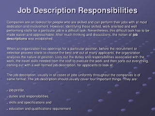 Job Description Responsibilities