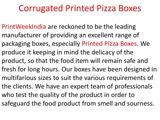 Corrugated Printed Pizza Boxes