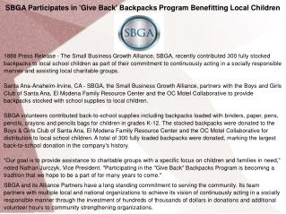 SBGA Participates in 'Give Back' Backpacks Program