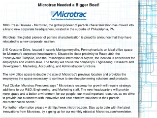Microtrac Needed a Bigger Boat!