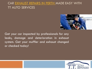 Car Exhaust Repairs in Perth Made Easy With TT Auto Services