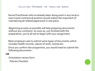 Collecting Paperwork For Travelling Nurses
