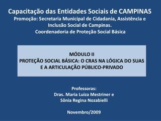 Professoras:  Dras . Maria  Luiza  Mestriner e  Sônia Regina Nozabielli Novembro/2009