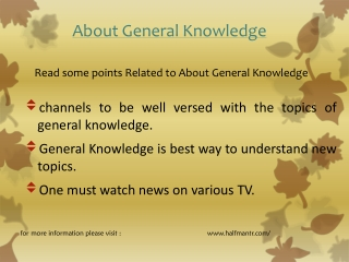 Some points About general knowledge