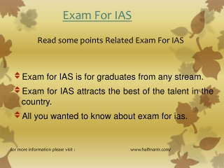 Read some points EXAM For IAS