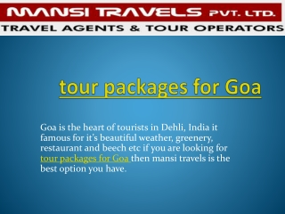 Tour packages for Goa