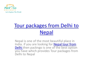 tour packages from Delhi to nepal