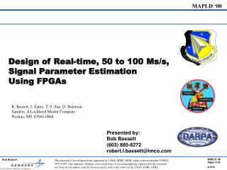 Design of Real-time, 50 to 100 Ms/s, Signal Parameter Estimation  Using FPGAs