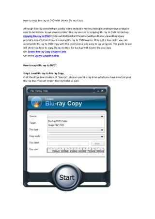 How to copy Blu ray to DVD with Leawo Blu ray Copy