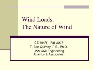 wind loads: the nature of wind