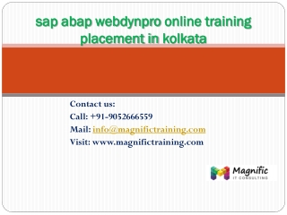 sap abap webdynpro online training placement in kolkata