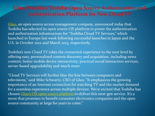 Gluu Provides Toshiba Open Source Authorization and Authent
