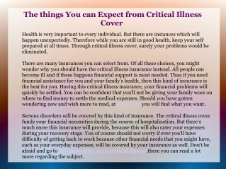 The things You can Expect from Critical Illness Cover