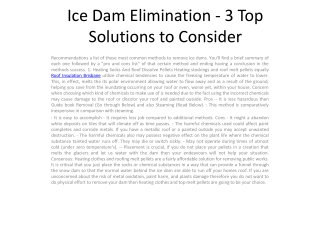 Ice Dam Elimination - 3 Top Solutions to
