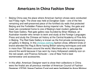 Americans in China Fashion Show