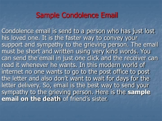 Sample Condolence Email