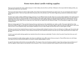Know more about candle making supplies