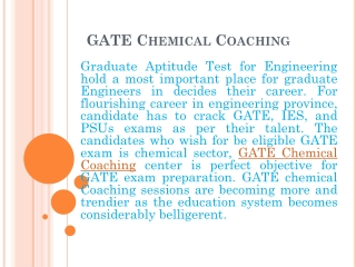GATE chemical coaching