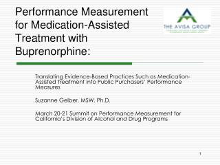 Performance Measurement for Medication-Assisted Treatment with  Buprenorphine: