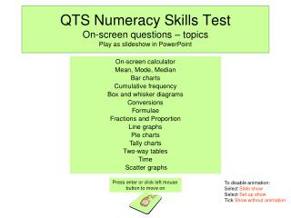 QTS Numeracy Skills Test On-screen questions – topics Play as slideshow in PowerPoint