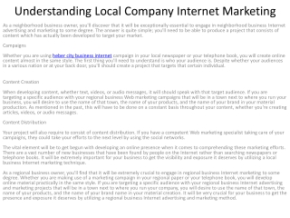 Understanding Local Company Internet Marketing